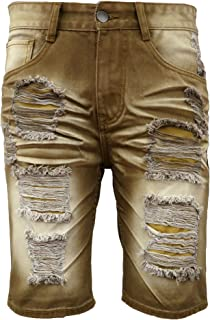 29737d8076 Henry & William Men's Ripped Distressed Straight Fit Denim Shorts