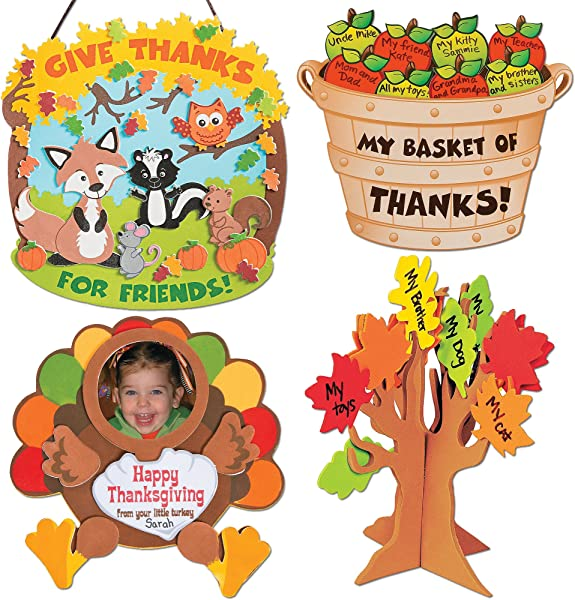 Thanksgiving Autumn Craft Kits Thankful For Friends Sign Kit Bushel Of Thanks Apple Basket Kit Turkey Picture Frame Magnet Standing Tree Of Thanks Kids Family Holiday Activities Gift Set