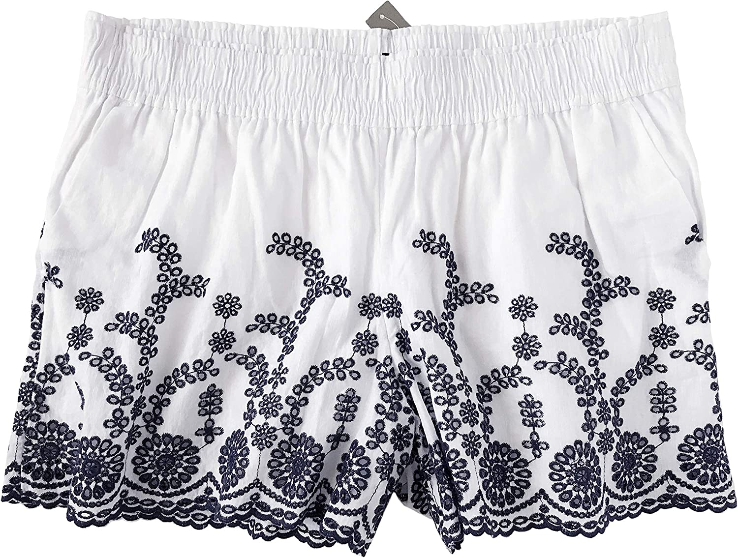 J Crew  Women's Floral Eyelet Embroidered PullOn Shorts