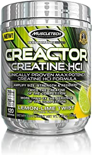 MuscleTech Creactor, Max Potency Creatine Powder, Micronized Creatine and Creatine HCl, Lemon Lime Twist, 120 Servings (238g)