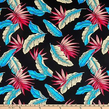 Fabric Merchants Swimwear Nylon Spandex Feathers Blue/Pink/Black Fabric by the Yard