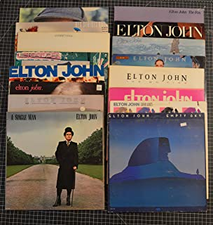 16 different elton john lps: rock of the westies, the fox, reg strikes back, breaking hearts, blue moves, empty sky, too low for zero, a single man, leather jackets, caribou, jump up, ice on fire, i don't wanna go on with you like that, friends, sleeping with the past, here and there