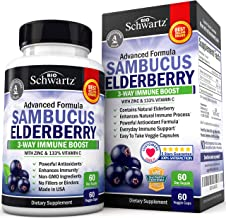Sambucus Elderberry Capsules with Zinc & Vitamin C (2 Month Supply) - Dr. Approved Women & Men's Daily Herbal Supplement f...