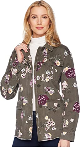 Printed Cotton Four-Pocket Floral Cotton Jacket