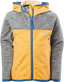 Kathmandu Archie Lightweight Quick Drying Warm Fleece Hooded Kids Jacket v2 Cadmium Yellow Marle/Mid Grey Marle 4YRS