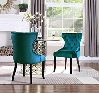 Iconic Home Sirius Wingback Dining Chair Button Tufted Velvet Upholstered Tapered Espresso Wood Legs, Modern Transitional, Teal, Set of 2