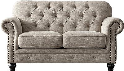 Acanva Luxury Chesterfield Chenille Diamond Tufted Living Room Sofa 67 W Loveseat Almond Furniture Decor