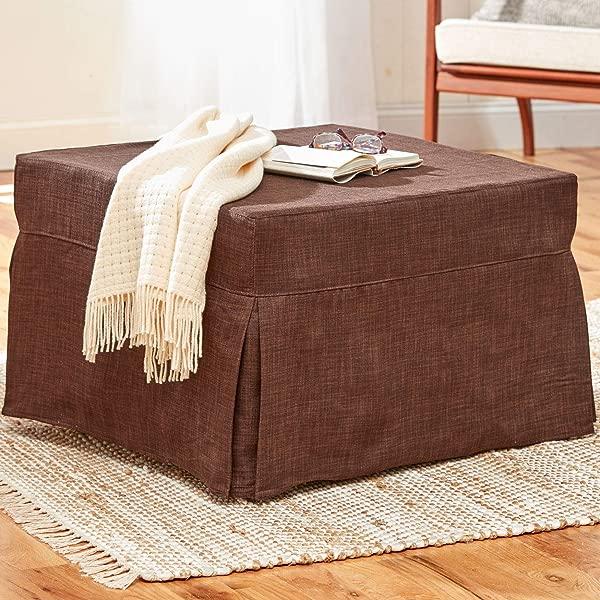 BrylaneHome Folding Sleeper Ottoman Brown
