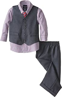 Nautica Baby Boys 4-Piece Set with Dress Shirt, Vest, Pants, and Tie