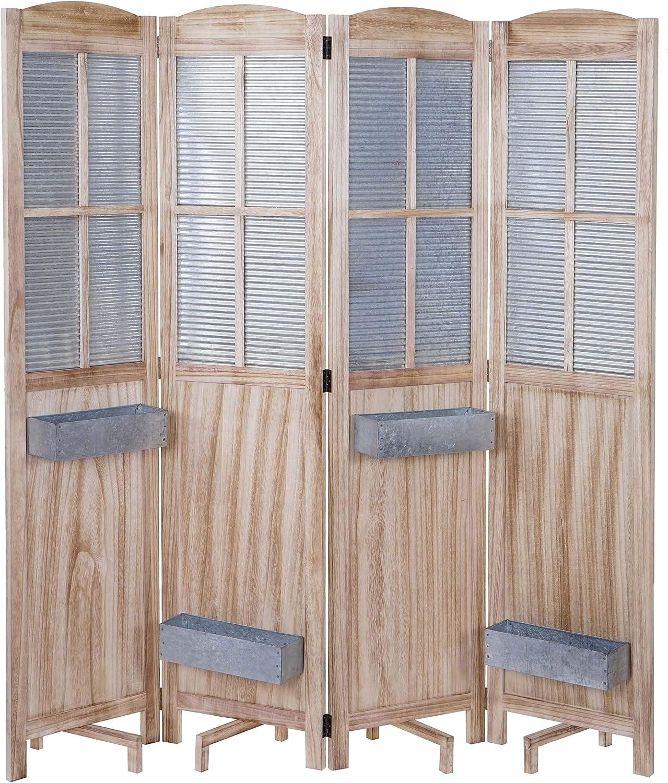 Mendler Paravent HWC-D26 Pflanzkrbe, Raumteiler Trennwand spanische Wand Sichtschutz, Holz Metall 170x161x29cm