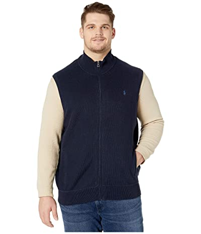 Polo Ralph Lauren Big & Tall Big Tall Zip-Up Knit Vest (Navy Heather) Men