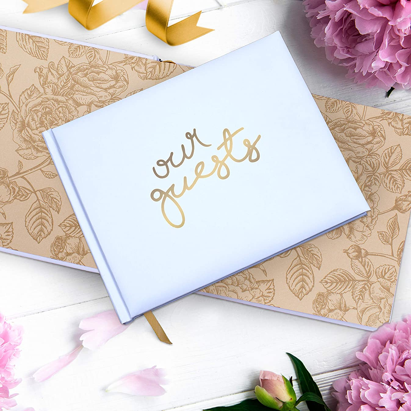 """Wedding Guest Book   Perfect Bridal Registry for Signature & Messages   Best Shower Gift   Wedding Day Memory Book   Hard Cover with Gold Foil, 64 Gold Gilded Pages & Ribbon Bookmark   7"""" x 9"""""""