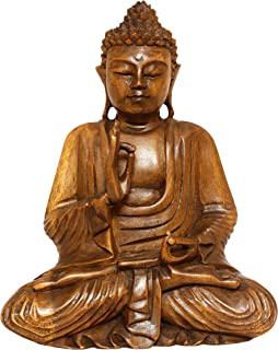 G6 Collection Wooden Serene Sitting Buddha Statue Handmade Meditating Sculpture Figurine Decorative Home Decor Accent Rustic Handcrafted Art Traditional Modern Contemporary Oriental Decor (8