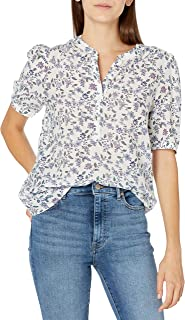 Lucky Brand Women's Elbow Sleeve Poet Popover Blouse