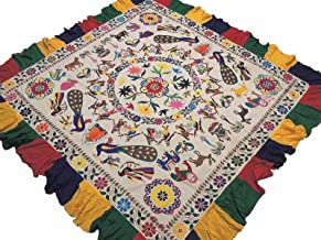 NovaHaat Kutch Embroidered Tribal Huge Tapestry - Vintage Ethnic Indian Wall Hanging in Ivory Cotton Fabric and Multi-color Ganesha, Lakshmi, Peacocks and Floral Motifs ~ 85