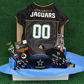 NFL Jacksonville Jaguars PET GIFT BOX with 2 Licensed DOG TOYS, 1 Logo-engraved NATURAL DOG TREAT, 1 NFL JERSEY, 1 NFL Pup...