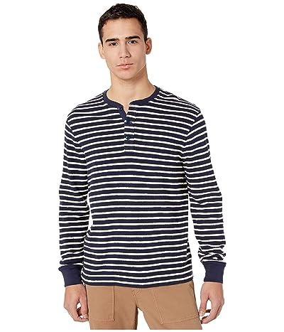 J.Crew Knit Henley in Textured Stripe (Navy Antique Starboard Stripe) Men