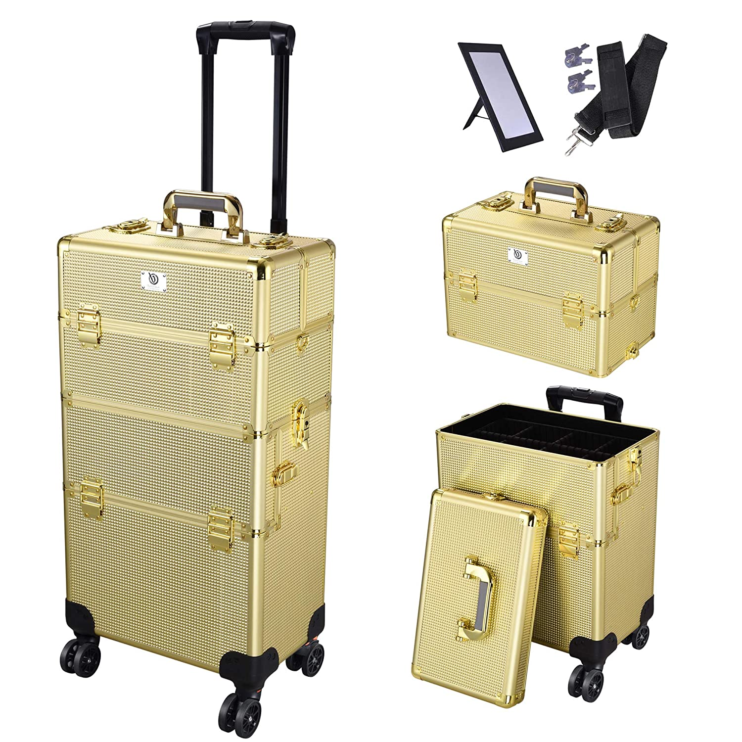 Byootique Ranking TOP13 Shiny Gold Super Special SALE held 2in1 Rolling Makeup Loc Train Aluminum Case