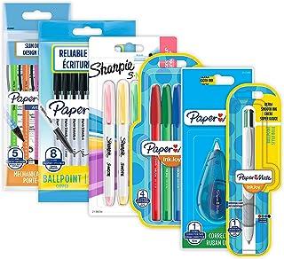 Paper Mate & Sharpie Lot de 23 stylos à bille, surligneurs, crayons mécaniques et ruban correcteur Idéal pour l'école et l...