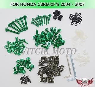 VITCIK Full Fairings Bolt Screw Kits for Honda CBR600F4i 2004 2005 2006 2007 CBR 600 F4i 04 05 06 07 Motorcycle Fastener CNC Aluminium Clips (Green)