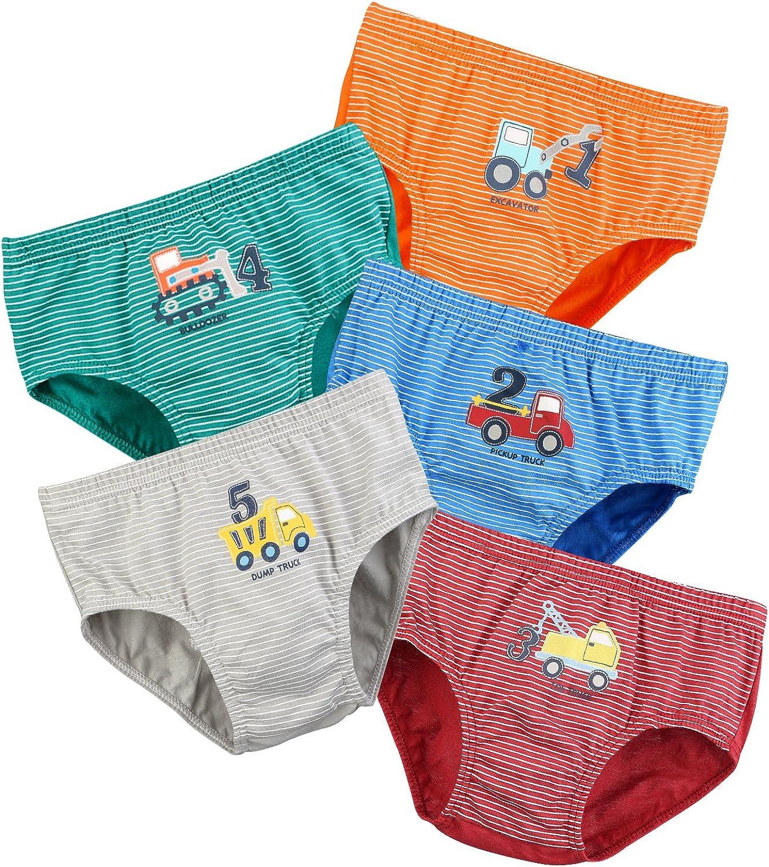 BOOPH Little Boys Toddlers Cotton Underwear Briefs Car 5 Pack 2-5T