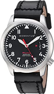 Momentum Women's 'Flatline 36' Quartz Stainless Steel and Leather Casual Watch, Color:Black (Model: 1M-SP19BS3B)