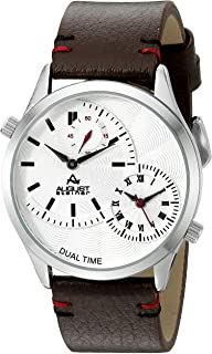 August Steiner Men's AS8167SSBR Silver Dual Time Zone Quartz Watch with White Dial and Brown with White Stitching Leather Strap