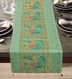 DK Homewares Tradition Indienne Décor De Cuisine Brocart Chemin De Table 60 X 16 Pouces Vert Jacquard Satin 5 Pieds Nappe ...