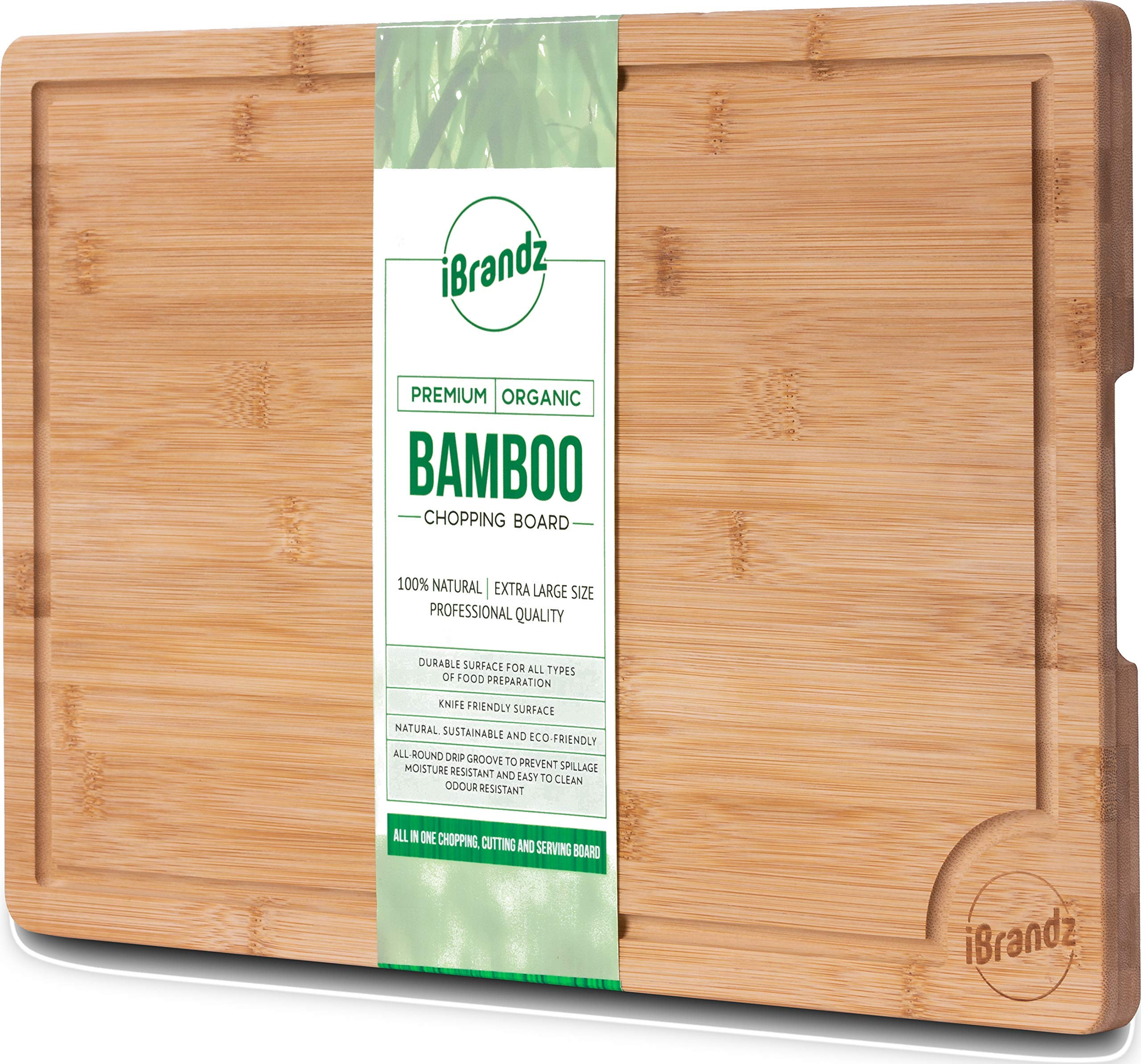 Easy to Clean with Drip Groove Olivers Kitchens Premium 100/% Organic Bamboo Chopping Board Strong Extra Large Size Wooden Cutting Board Durable /& Hard Wearing
