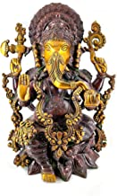 Lord Ganesha Sitting on Kamal Brass Statue Religious Strength God Sculpture Idol - Large