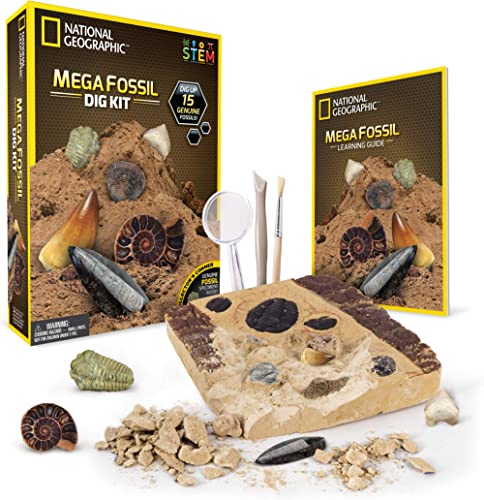 NATIONAL GEOGRAPHIC Mega Fossil Dig Kit – Excavate 15 Real Fossils Including Dinosaur Bones, Mosasaur & Shark Teeth -...