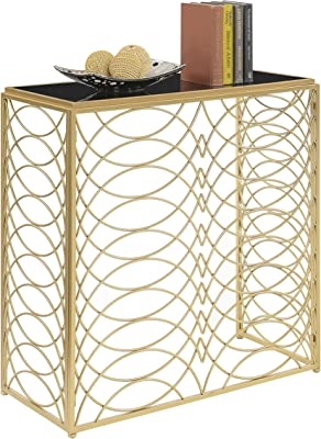 Convenience Concepts Gold Coast Tranquility Console Table Gold//Black Glass