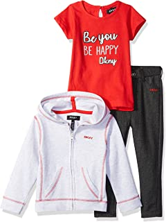 DKNY Baby Girls 3 Piece Forever Gang T-Shirt, Hoodie, and Pant Set
