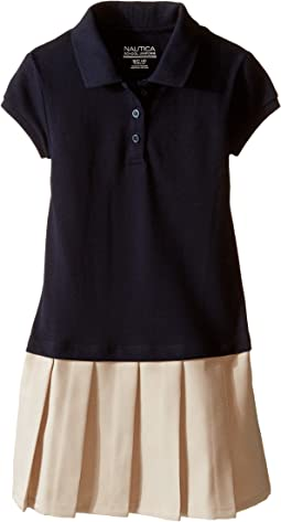 Pique Polo Pleated Dress (Little Kids)