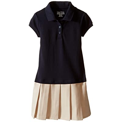 Nautica Kids Pique Polo Pleated Dress (Little Kids) (Su Navy) Girl