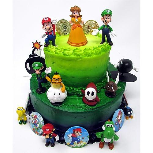Super Mario Cake Decorations Amazon Com Personalised Birthday Cards Veneteletsinfo