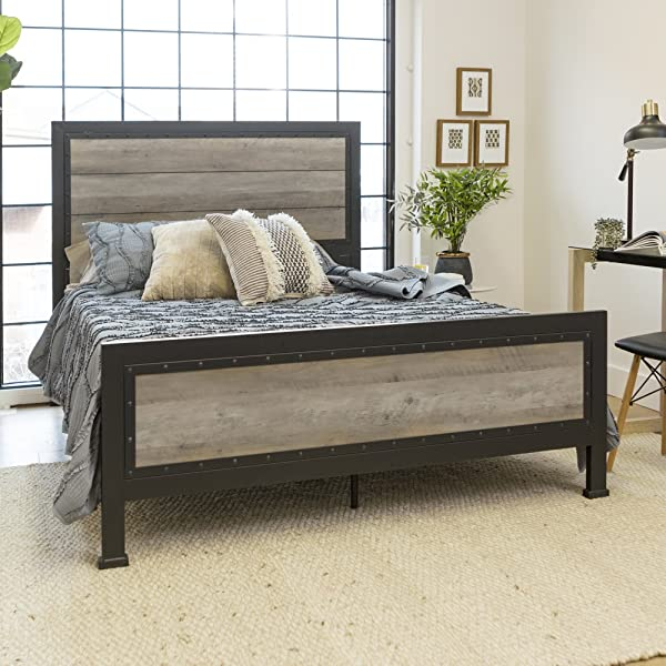 New Rustic Queen Industrial Wood And Metal Bed Includes Head And Footboard