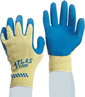 (Small) - SHOWA Atlas KV300 Natural Rubber Palm Coating Glove, 10 Gauge Seamless Kevlar Liner, Cut Resistant, Small (Pack of 12 Pairs)