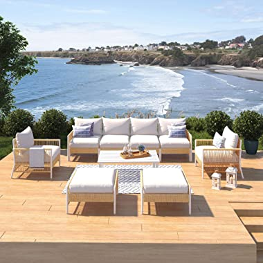 SunHaven Olivia Ivory 9 Piece Outdoor Roped Wicker Sofa Set - Weather Resistant Patio Seating - Patio Furniture Set with Ultr