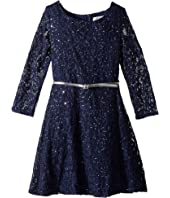 3/4 Sleeve Sequin Lace Party Dress (Big Kids)