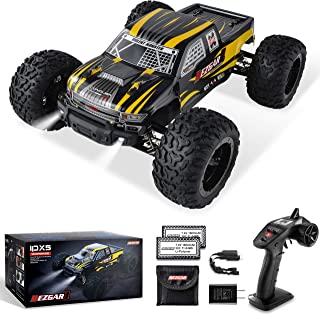 BEZGAR 1 Hobbyist Grade 1:10 Scale Remote Control Truck, 4WD High Speed 42 Km/h All Terrains Electric Toy Off Road RC Monster Vehicle Car Crawler with 2 Rechargeable Batteries for Boys Kids and Adults