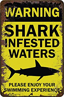 Funny HAHA USA Shark Sign - Shark Infested Water Metal 7.75 x 11.75 Funny Sign