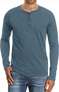 Mens Fashion Casual Front Placket Basic Long/Short Sleeve Henley T-Shirts