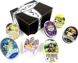 Les Anis De Flavigny Mints 7-Flavor Variety: One 1.75 oz Tin Each of Original Anise, Orange Blossom, Rose, Violet, Lemon, Mint, and Liquorice in a BlackTie Box (7 Items Total)
