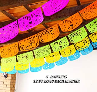 5 Pk Papel Picado Banners, 60 ft total in colors Pink, Orange, Green, Yellow, Blue, Tissue PAPER garland, Mexican Decorations Fiesta party supplies for Weddings Birthdays Taco Coco Mexican Paper Flags