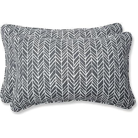 Amazon Com Pillow Perfect Outdoor Indoor Herringbone Slate Seat Cushions 11 5 X 18 5 Gray 2 Pack Home Kitchen