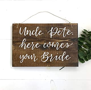 Olga212Patrick Here Comes The Bride Sign Uncle here comes your bride Sign rustic wedding ring bearer Sign wedding Signs rustic wood Sign s