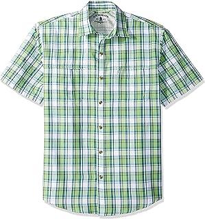 Van Heusen G.H. Bass & Co. Mens Explorer Short Sleeve Button Down Fishing Shirt Plaid Button Pocket Spread Short Sleeve Bu...
