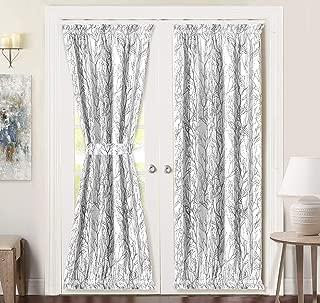 DriftAway Tree Branch Door Curtain Sidelight Curtain Thermal Rod Pocket Room Darkening Privacy Front Door Panel Single Curtain with Bonus Adjustable Tieback 52 Inch by 72 Inch Gray