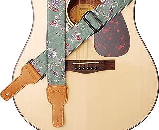 "MUSIC FIRST Original Design, 2 inch width (5cm), Vintage Style ""Plum Flowers"" Soft Cotton & Genuine Leather Guitar Strap, Ukulele Strap, Mandolin Strap, Banjo Strap"